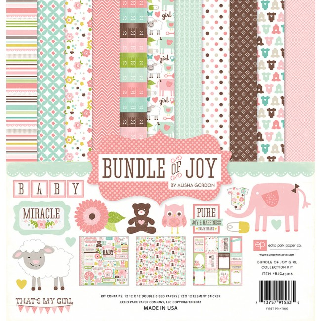 Kit papeles estampados 12x12 Bundle Of Joy Girl