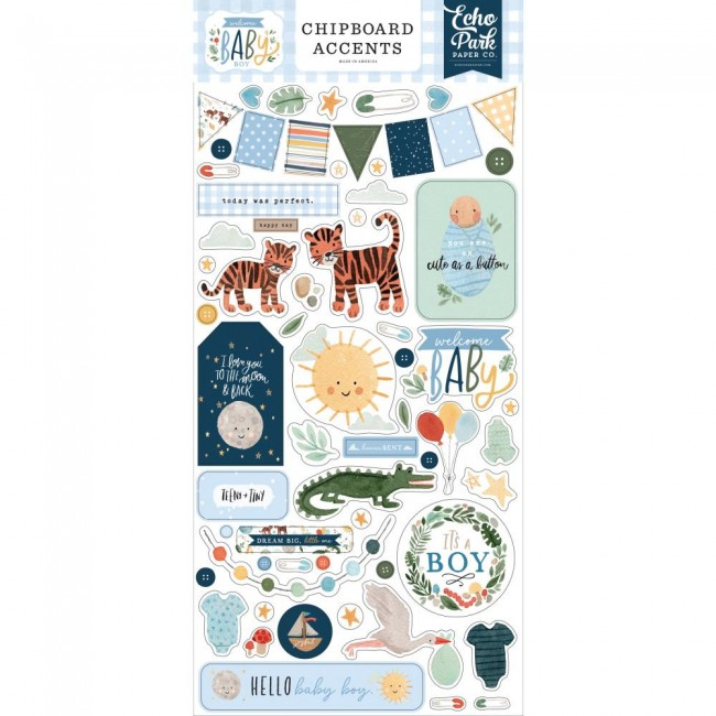 Chipboard 6x13 Welcome Baby Boy Accents