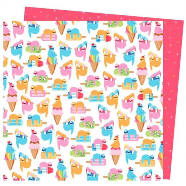Papel Estampado Doble Cara 12x12 Wild Card Damask Love Don't Hurry Be Happy