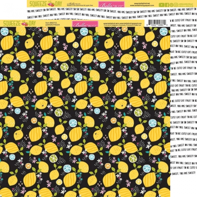 Papel Estampado Doble Cara 12x12 Squeeze The Day Lemon Fresh