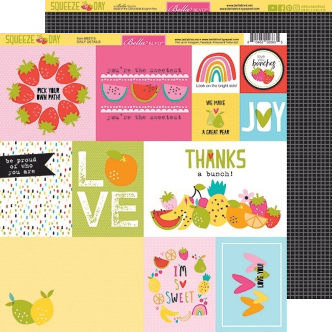 Papel Estampado Doble Cara 12x12 Squeeze The Day Daily Details