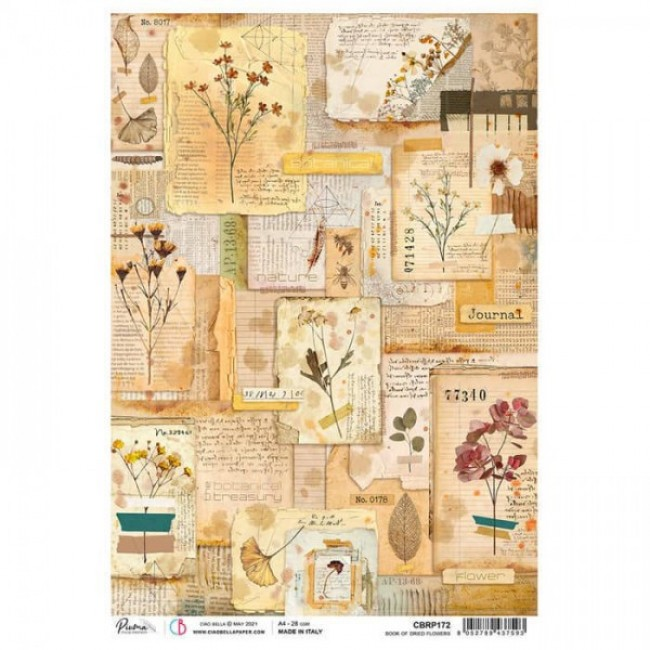Papel de arroz decoupage A4 Sign Of The Times Book of dried flowers