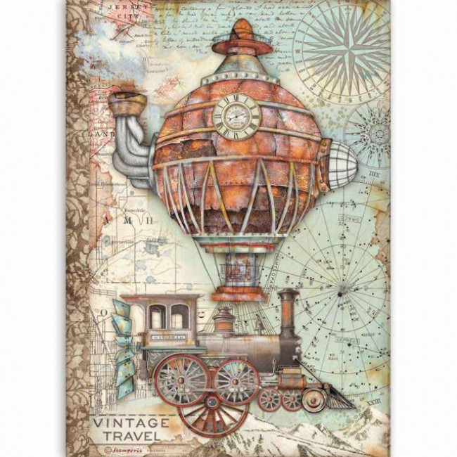 Papel de arroz decoupage A4 Sir Vagabond Vintage Travel