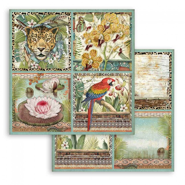 Papel Estampado Doble Cara 12x12 Amazonia by Cristina Radovan Cards