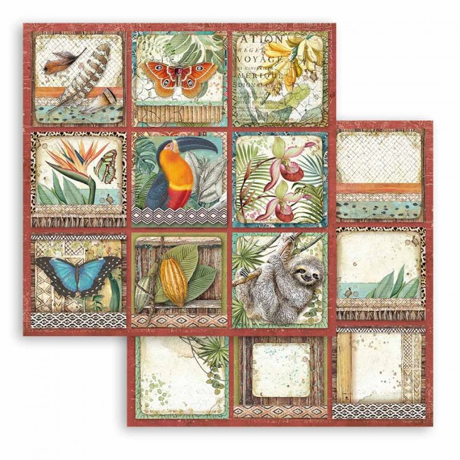 Papel Estampado Doble Cara 12x12 Amazonia by Cristina Radovan Square Tags