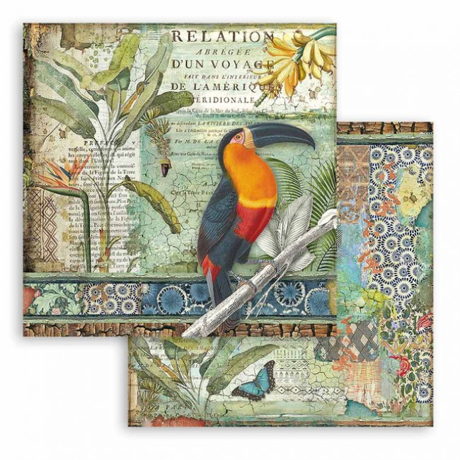 Papel Estampado Doble Cara 12x12 Amazonia by Cristina Radovan Toucan