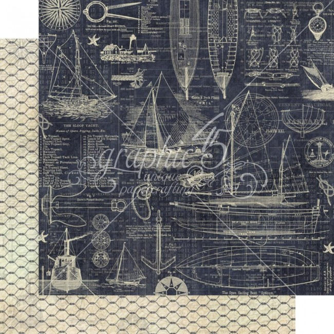 Papel Estampado Doble Cara 12x12 Catch Of The Day Anchors Aweigh