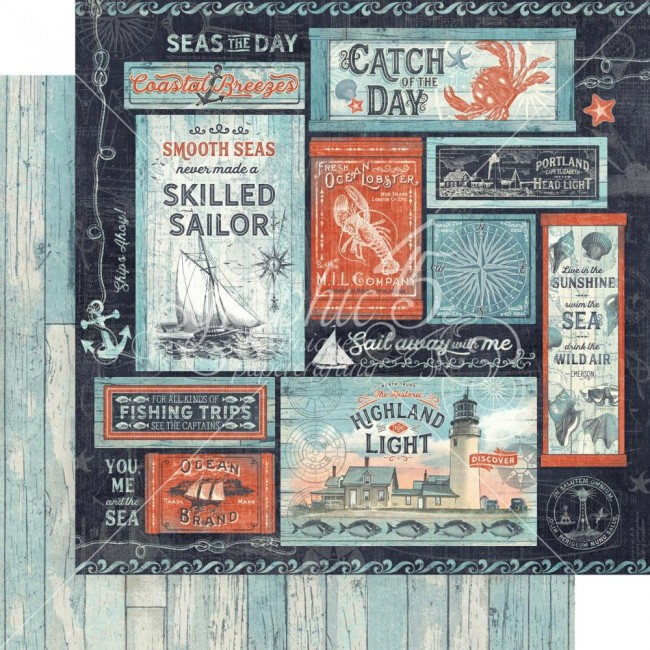 Papel Estampado Doble Cara 12x12 Catch Of The Day Seas The Day