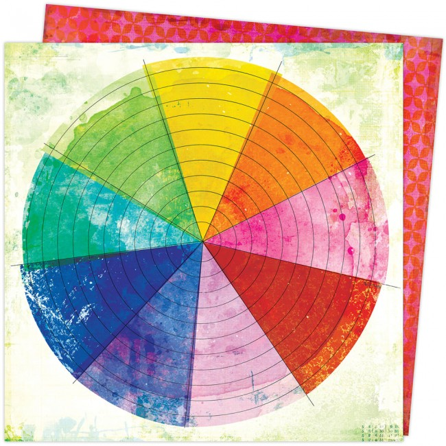 Papel Estampado Doble Cara 12x12 Color Study Vicki Boutin Color Wheel