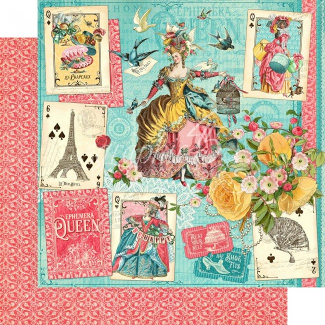 Papel Estampado Doble Cara 12x12 Ephemera Queen
