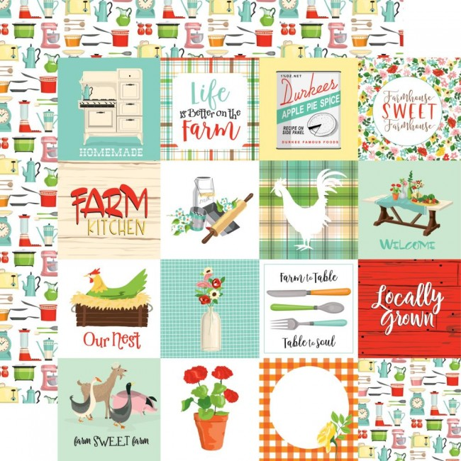 "Papel Estampado Doble Cara 12x12 Farm to Table 3""X3"" Journaling Cards"