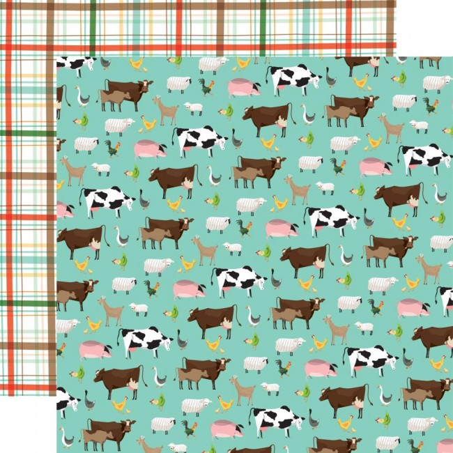 Papel Estampado Doble Cara 12x12 Farm to Table Barnyard