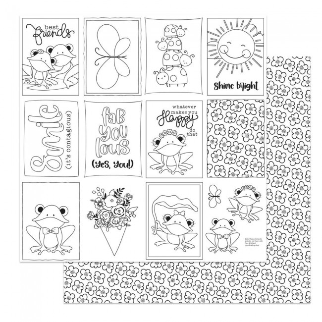 Papel Estampado Doble Cara 12x12 Fern & Willard Color Me