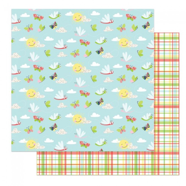 Papel Estampado Doble Cara 12x12 Fern & Willard Flutter