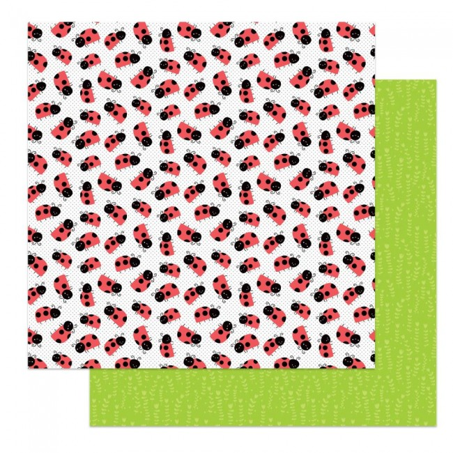 Papel Estampado Doble Cara 12x12 Fern & Willard Ladybug