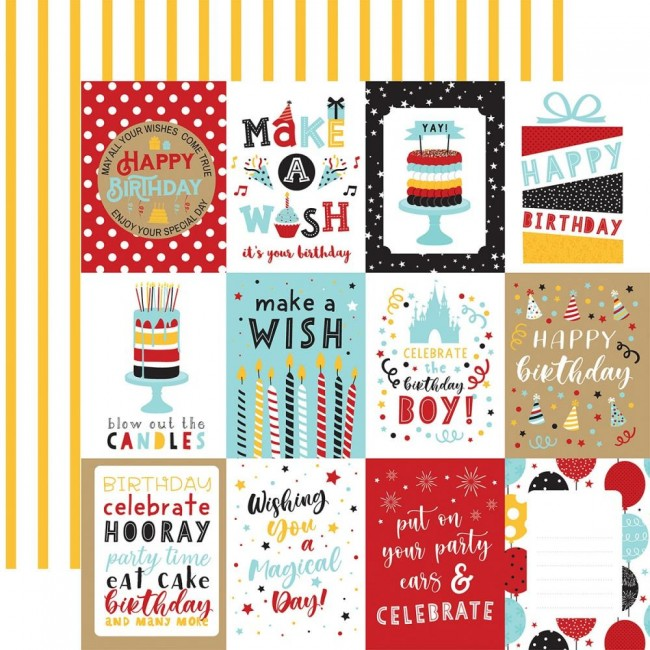 "Papel Estampado Doble Cara 12x12 Magical Birthday Boy 3""X4"" Journaling Cards"