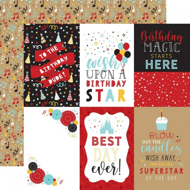 "Papel Estampado Doble Cara 12x12 Magical Birthday Boy 4""X6"" Journaling Cards"