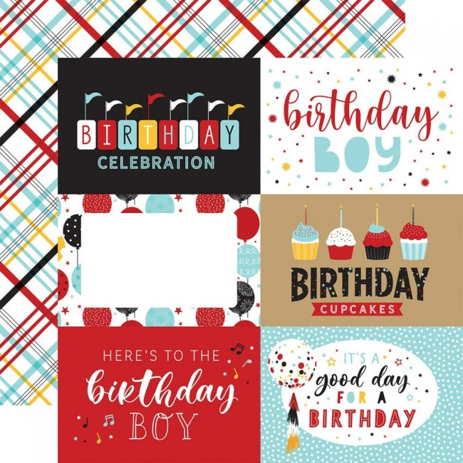 "Papel Estampado Doble Cara 12x12 Magical Birthday Boy 6""X4"" Journaling Cards"