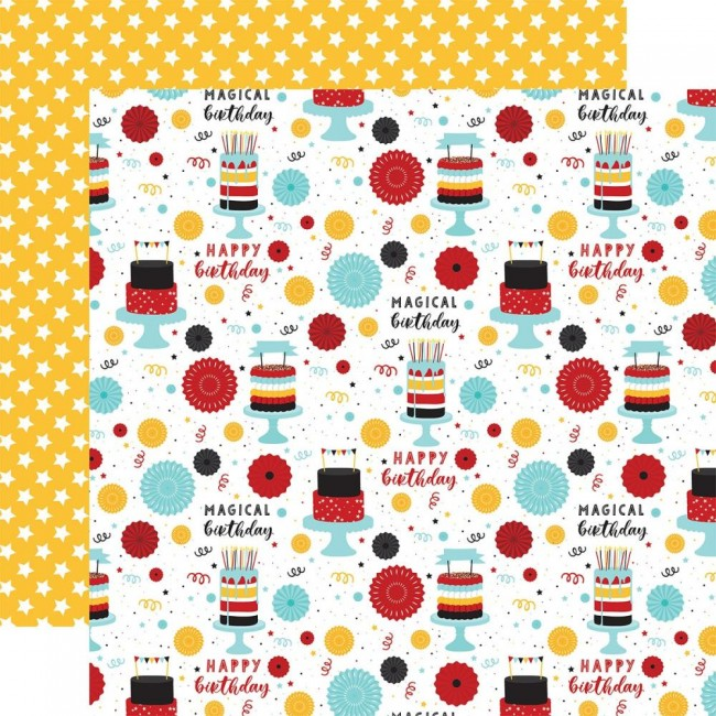 Papel Estampado Doble Cara 12x12 Magical Birthday Boy Make A Wish