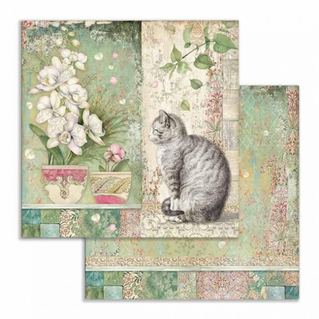 Papel Estampado Doble Cara 12x12 Orchids and Cats Gato y Vaso