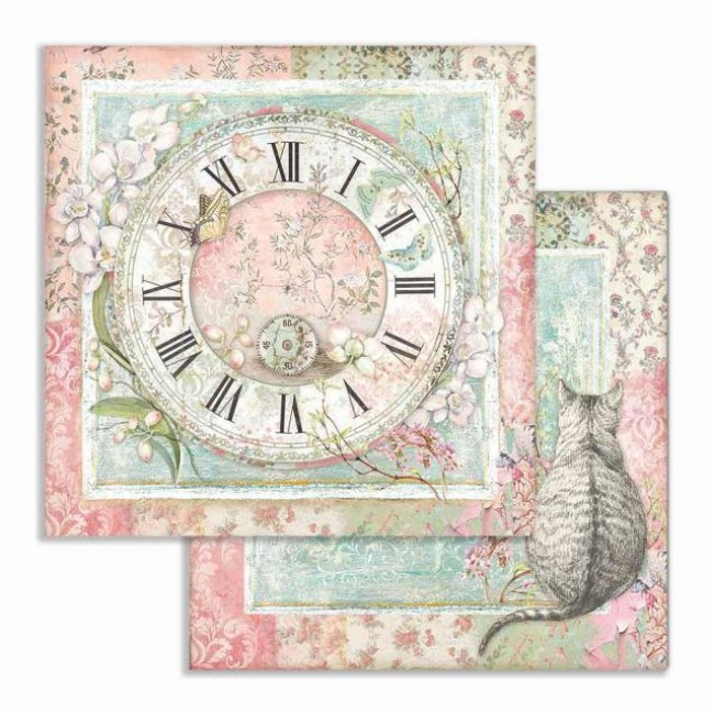 Papel Estampado Doble Cara 12x12 Orchids and Cats Reloj y Gato