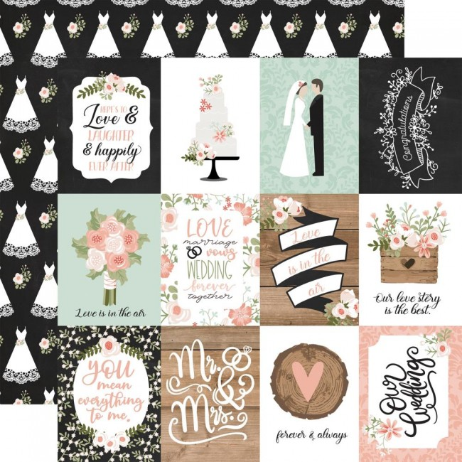 "Papel Estampado Doble Cara 12x12 Our Wedding 3""X4"" Journaling Cards"