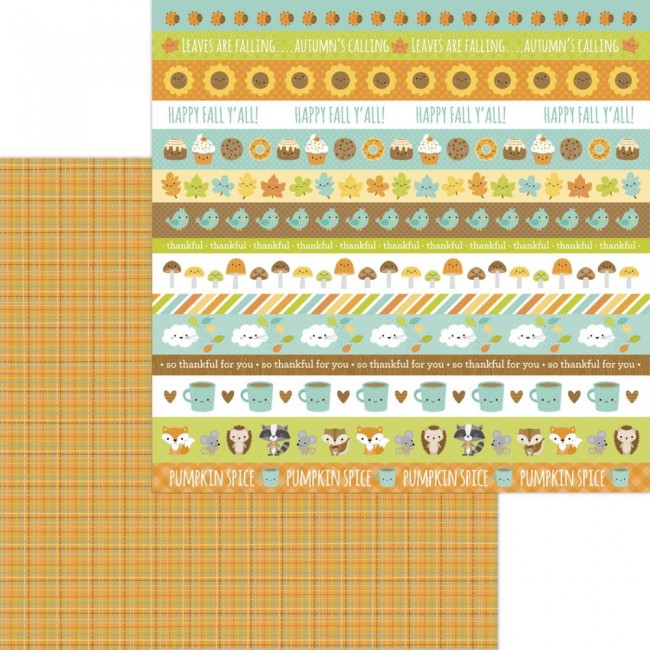 Papel Estampado Doble Cara 12x12 Pumpkin Spice Autumn Weave