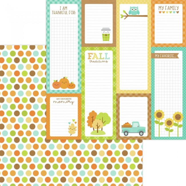 Papel Estampado Doble Cara 12x12 Pumpkin Spice Harvest Berries