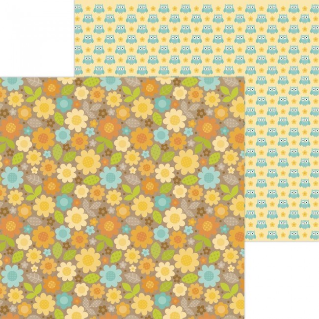 Papel Estampado Doble Cara 12x12 Pumpkin Spice Sunflower Fields
