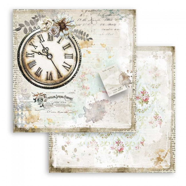 Papel Estampado Doble Cara 12x12 Romantic Collection Journal clock