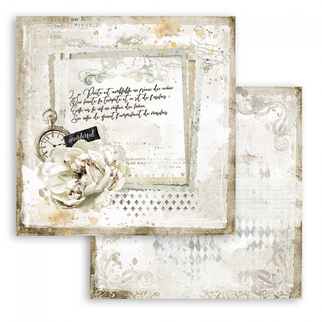 Papel Estampado Doble Cara 12x12 Romantic Collection Journal letter and clock