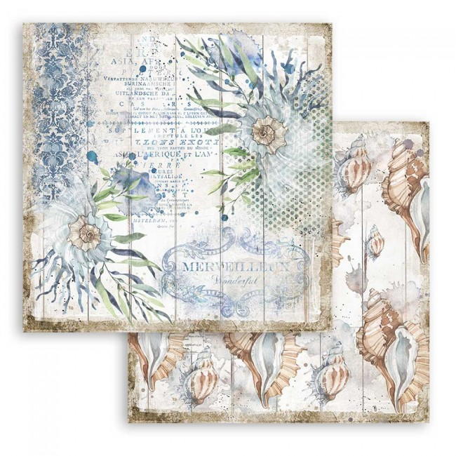 Papel Estampado Doble Cara 12x12 Romantic Collection Sea Dream shells
