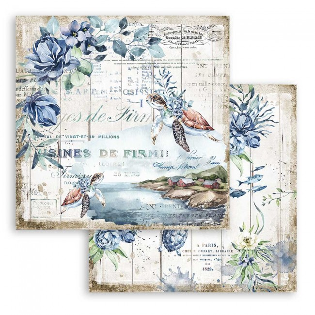 Papel Estampado Doble Cara 12x12 Romantic Collection Sea Dream turtle