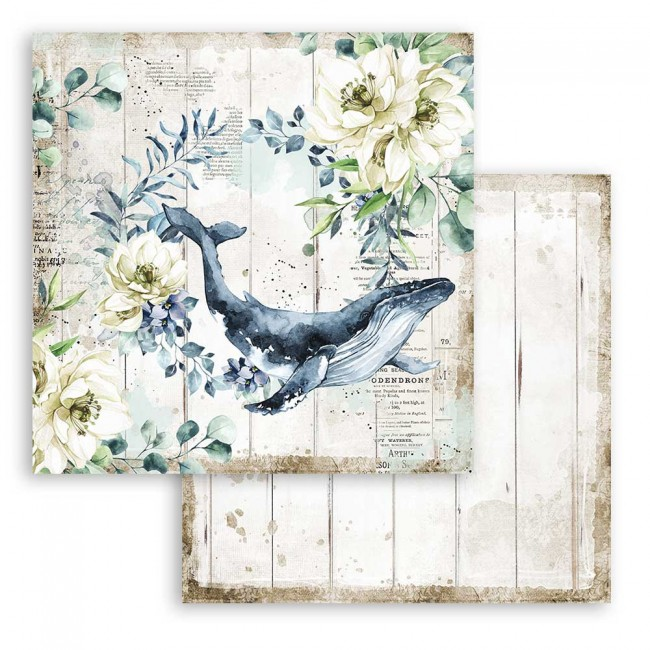 Papel Estampado Doble Cara 12x12 Romantic Collection Sea Dream whale