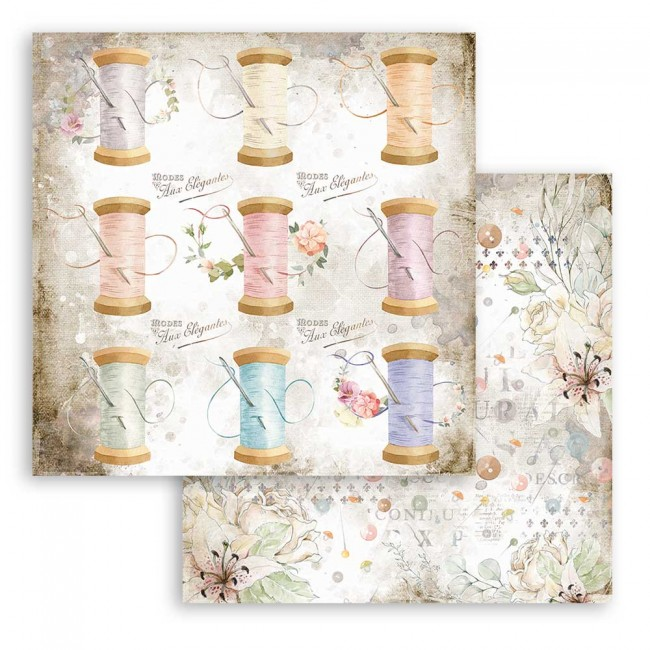 Papel Estampado Doble Cara 12x12 Romantic Collection Threads thread