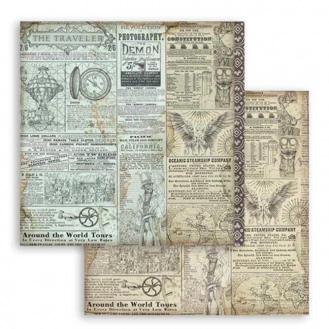 Papel Estampado Doble Cara 12x12 Sir Vagabond The Traveler