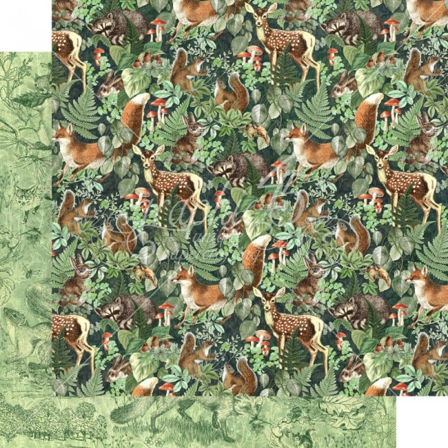 Papel Estampado Doble Cara 12x12 Woodland Friends Be Wild