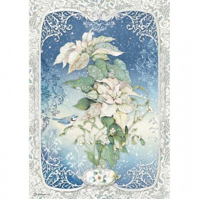 Papel de arroz decoupage A4 Winter Tales Poinsettia