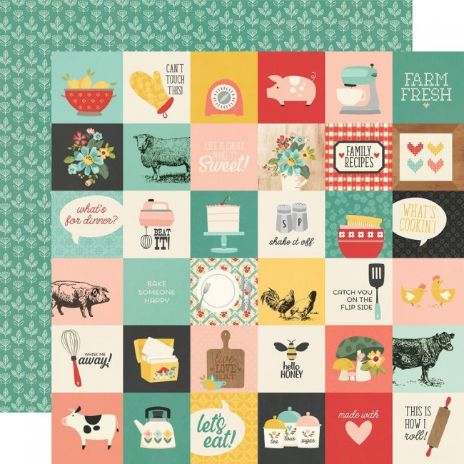 "Papel Estampado Doble Cara 12x12 Apron Strings 2""X2"" Elements"