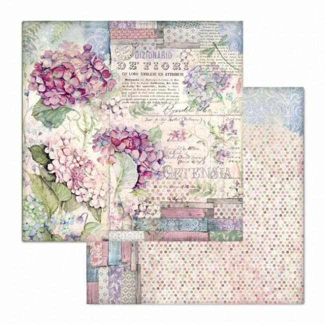 Papel Estampado Doble Cara 12x12 Hortensia