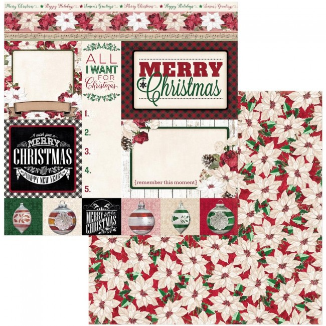 Papel Estampado Doble Cara 12x12 Joyful Christmas Merry