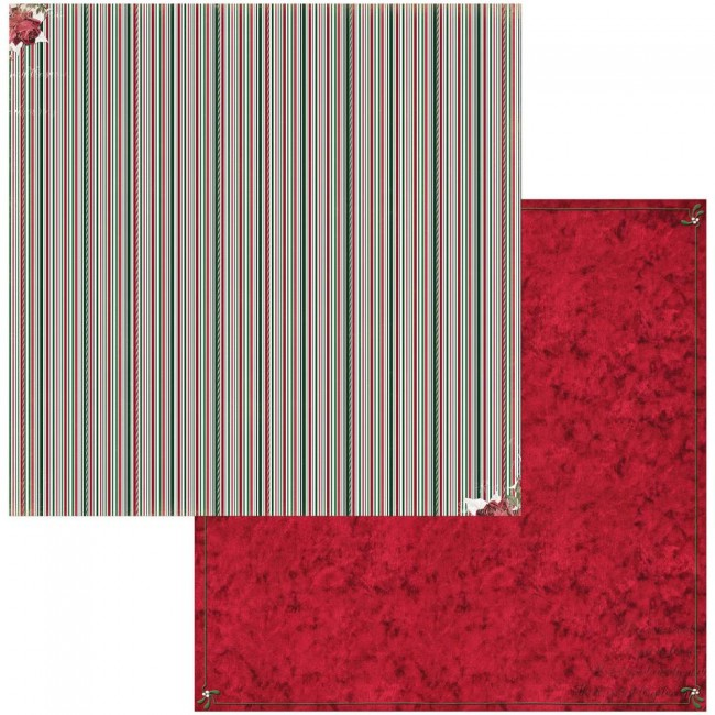 Papel Estampado Doble Cara 12x12 Joyful Christmas Stripe