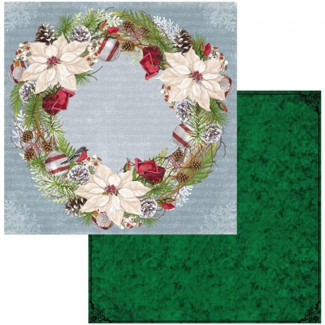 Papel Estampado Doble Cara 12x12 Joyful Christmas Wreath