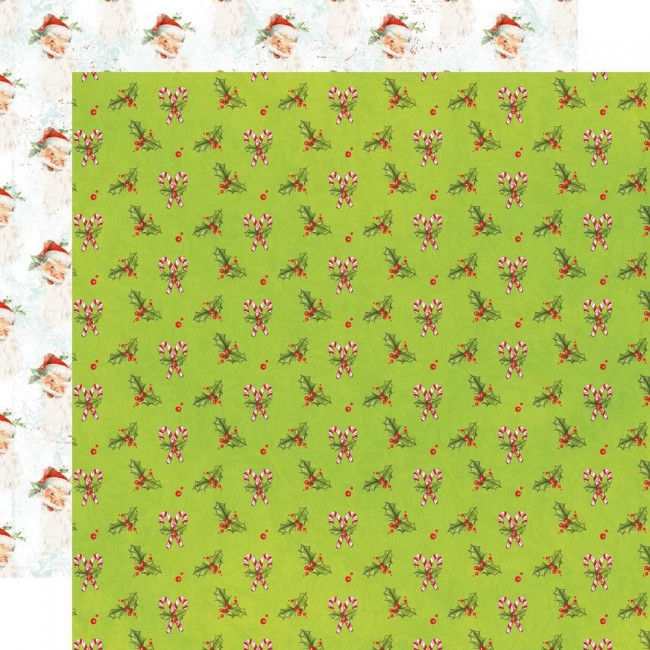 Papel Estampado Doble Cara 12x12 Simple Vintage North Pole Holly Days