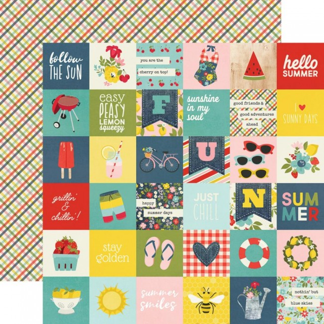 "Papel Estampado Doble Cara 12x12 Summer Farmhouse 2""X2"" Elements"