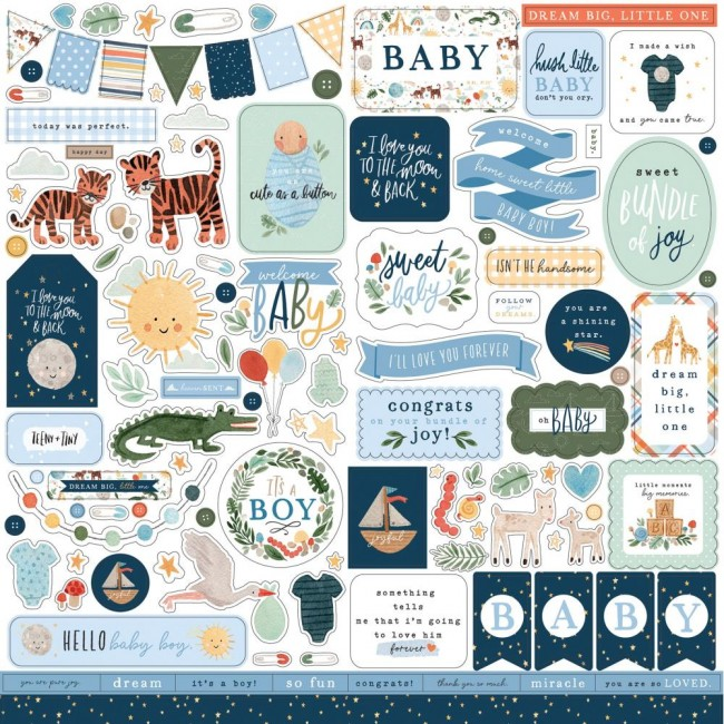 Pegatinas 12x12 Welcome Baby Boy Elements