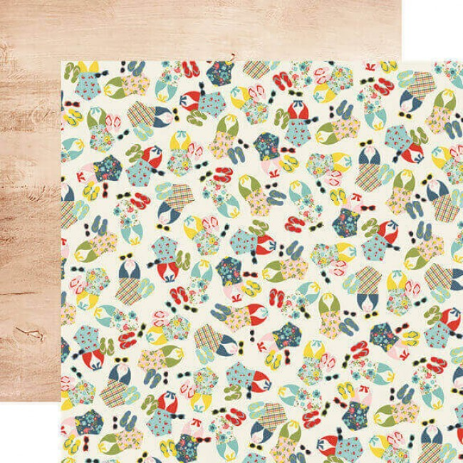 Papel Estampado Doble Cara 12x12 Summer Farmhouse Sunnies & Sandals