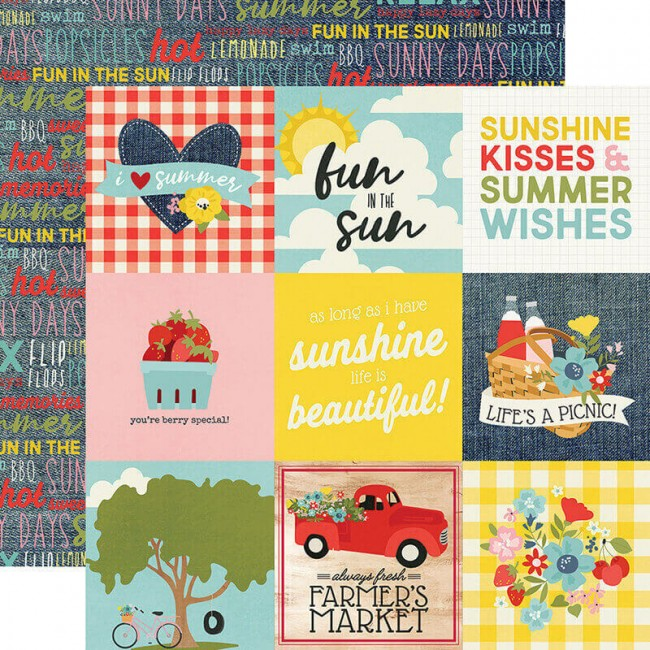 "Papel Estampado Doble Cara 12x12 Summer Farmhouse 4""X4"" Elements"