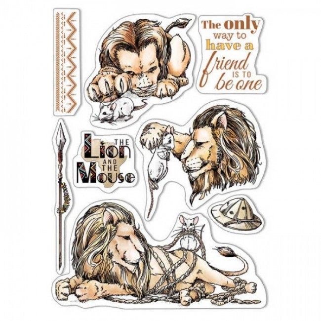 Sello Acrílico 6x8 Aesop's Fables The Lion and the Mouse