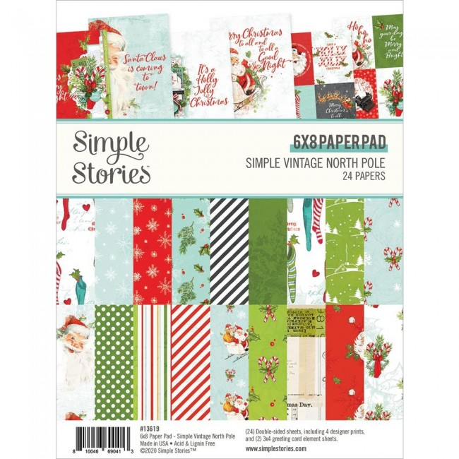 Stack Papeles Estampados 6x8 Simple Vintage North Pole